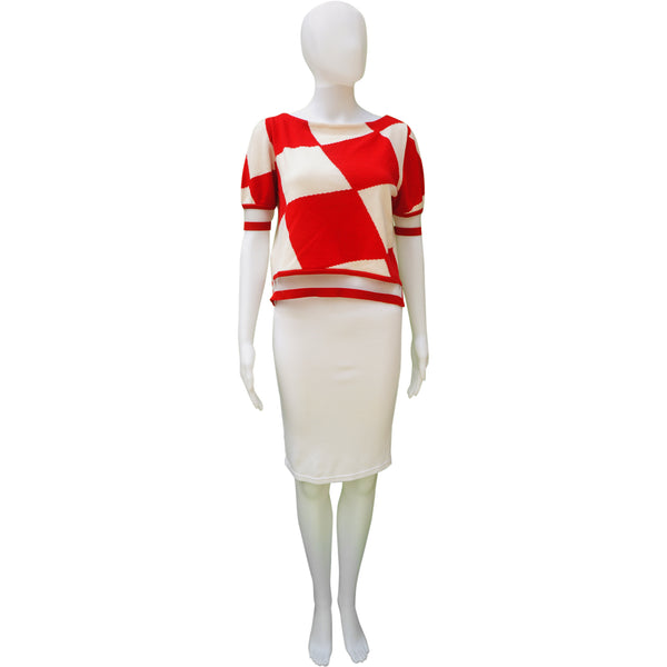 FENDI RED AND WHITE HARLEQUIN PRINT KNIT & MESH TOP