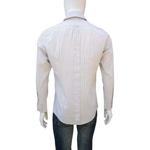 DOLCE & GABBANA GRAY BROWN  PINSTRIPE WOVEN BUTTON-UP SHIRT - leefluxury.com