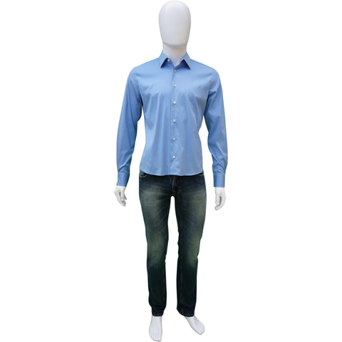 PRADA BLUE WOVEN BUTTON-UP SHIRT Shop online the best value on authentic designer used preowned consignment on Leef Luxury.