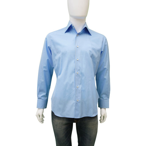 ZILLI BLUE WOVEN BUTTON-UP SHIRT - leefluxury.com