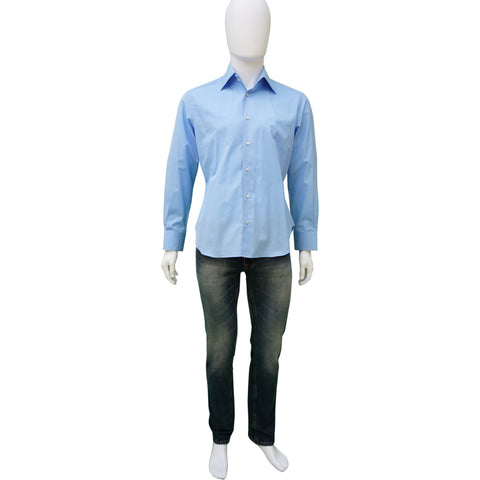 ZILLI BLUE WOVEN BUTTON-UP SHIRT Shop online the best value on authentic designer used preowned consignment on Leef Luxury.
