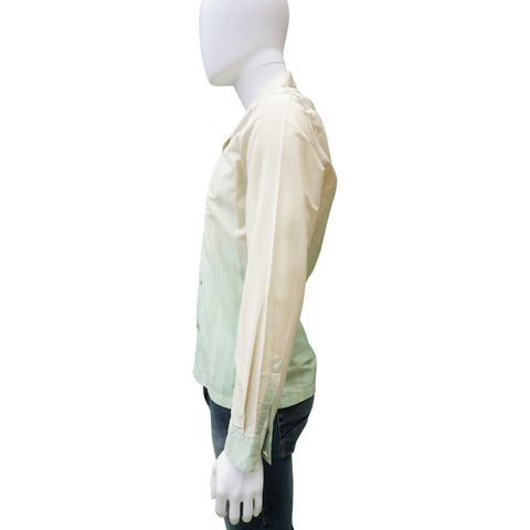 PRADA GREEN OMBRE BUTTON UP SHIRT
