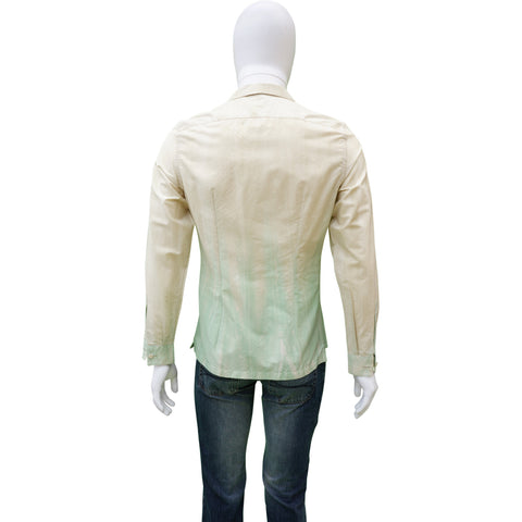 PRADA GREEN OMBRE BUTTON UP SHIRT - leefluxury.com