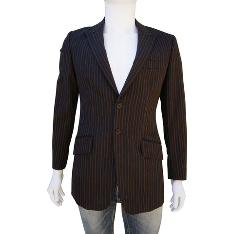 PS BY PAUL SMITH PINSTRIPE BROWN WOOL THREE-BUTTON BLAZER Shop online the best value on authentic designer used preowned consignment on Leef Luxury.