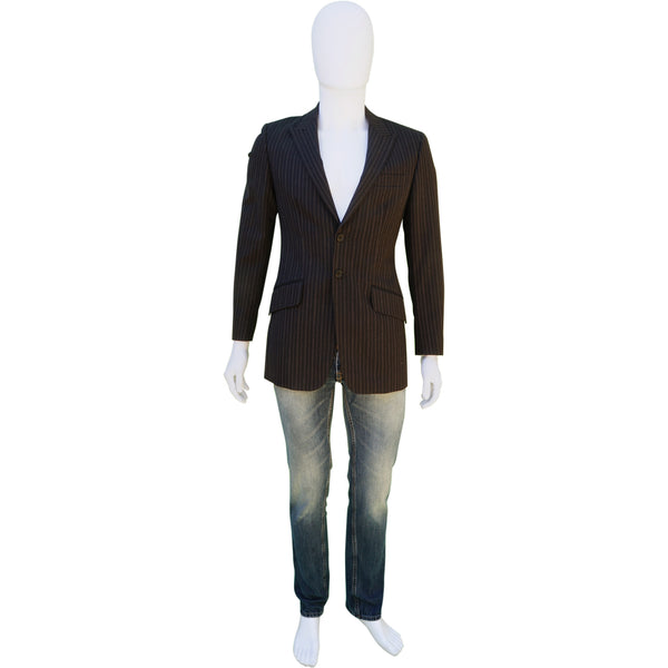 PS BY PAUL SMITH PINSTRIPE BROWN WOOL THREE-BUTTON BLAZER