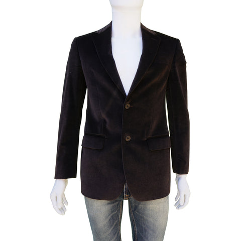 CERRUTI 1881 COTTON VELVET BROWN TWO-BUTTON BLAZER Shop online the best value on authentic designer used preowned consignment on Leef Luxury.