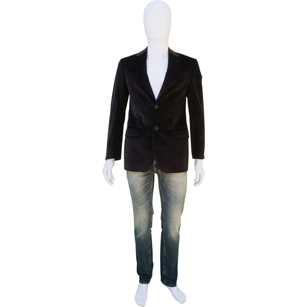 CERRUTI 1881 COTTON VELVET BROWN TWO-BUTTON BLAZER