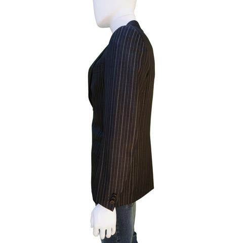 CERRUTI 1881 WOOL SILK BLACK PINSTRIPE TWO-BUTTON BLAZER - leefluxury.com