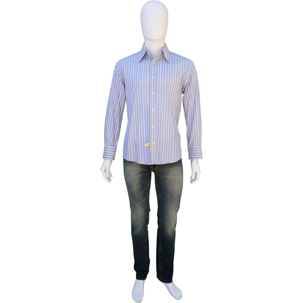 DOLCE & GABBANA BLUE WHITE STRIPED COTTON BUTTON-UP SHIRT