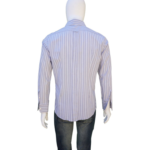 DOLCE & GABBANA BLUE WHITE STRIPED COTTON BUTTON-UP SHIRT - leefluxury.com