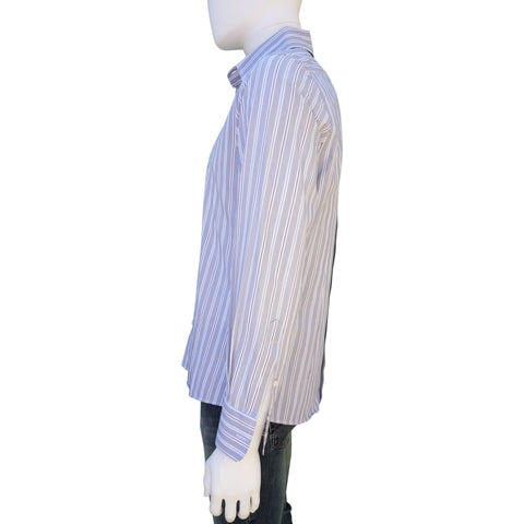 DOLCE & GABBANA BLUE WHITE STRIPED COTTON BUTTON-UP SHIRT Shop online the best value on authentic designer used preowned consignment on Leef Luxury.