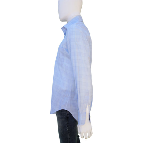 ANDREA FINAMORE BLUE CHECK COTTON BUTTON-UP SHIRT Shop online the best value on authentic designer used preowned consignment on Leef Luxury.