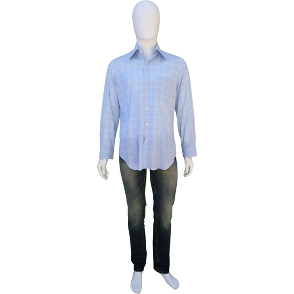 ANDREA FINAMORE BLUE CHECK COTTON BUTTON-UP SHIRT