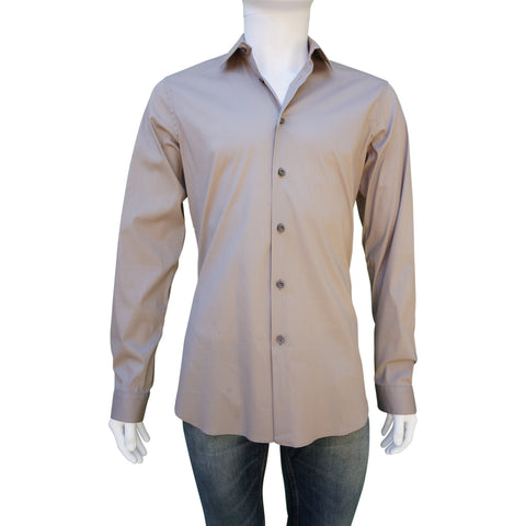 PRADA BROWN WOVEN BUTTON-UP SHIRT - leefluxury.com