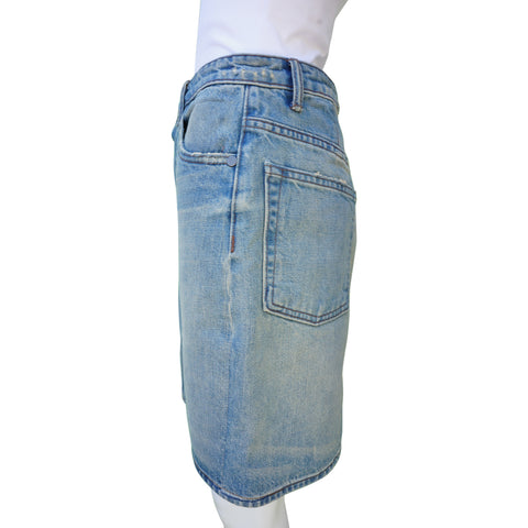 HELMUT LANG DISTRESSED DENIM MINI SKIRT  Shop online the best value on authentic designer used preowned consignment on Leef Luxury.
