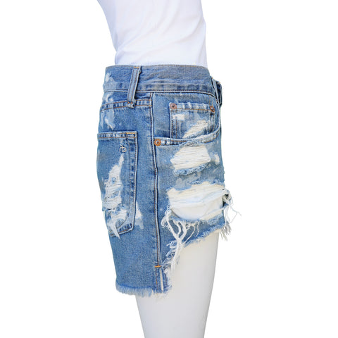 RAG & BONE BROKENLAND JEAN DISTRESSED SHORTS  Shop online the best value on authentic designer used preowned consignment on Leef Luxury.
