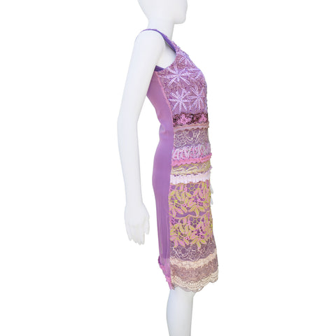 SAVE THE QUEEN PURPLE EMBROIDERED SLEEVELESS COCKTAIL NIGHT OUT DRESS - leefluxury.com