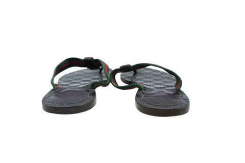 GUCCI GG WEB LEATHER THONG SANDALS  Shop online the best value on authentic designer used preowned consignment on Leef Luxury.