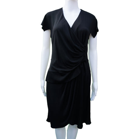 DEREK LAM BLACK JERSEY WRAP COCKTAIL DRESS