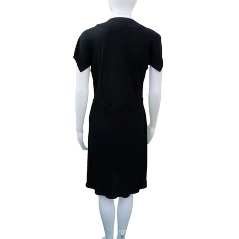 DEREK LAM BLACK JERSEY WRAP COCKTAIL DRESS - leefluxury.com