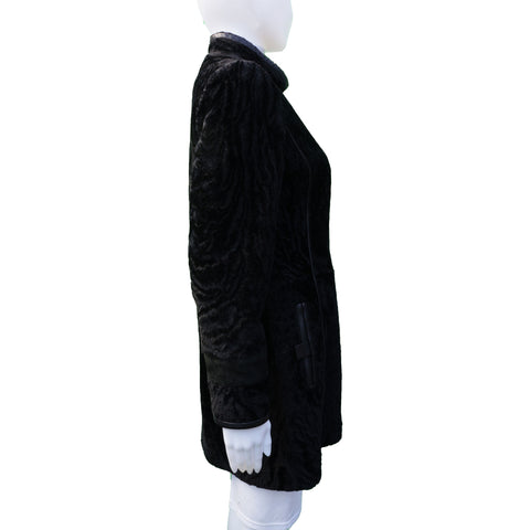 DESA BLACK SHEARLING LEATHER TRIM COAT - leefluxury.com