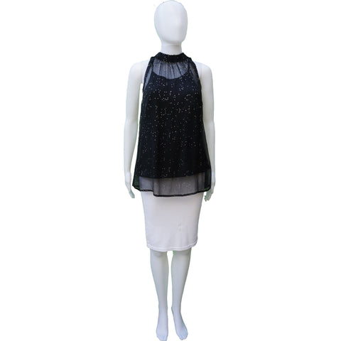 DIESEL BLACK GLITTER OVERLAY SLEEVELESS TOP - leefluxury.com