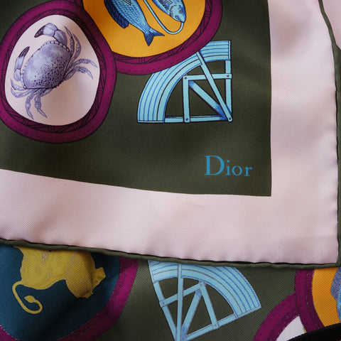 CHRISTIAN DIOR SILK ZODIAC SCARF Shop online the best value on authentic designer used preowned consignment on Leef Luxury.