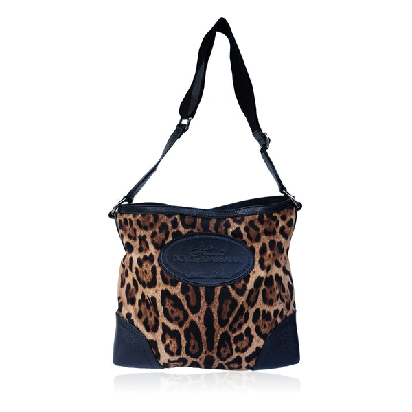 DOLCE & GABBANA ANIMALIER MESSENGER CROSSBODY BAG