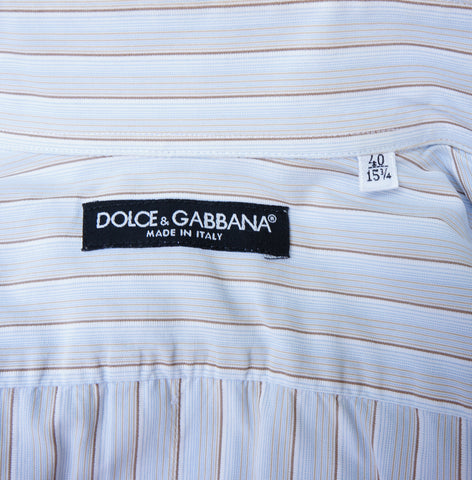 DOLCE & GABBANA GRAY BROWN  PINSTRIPE WOVEN BUTTON-UP SHIRT