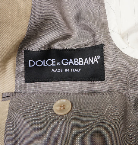 DOLCE & GABBANA TAN VIRGIN WOOL-BLEND TWO-BUTTON BLAZER
