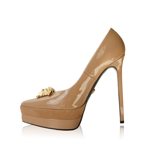 VERSACE PALAZZO PLATFORM BEIGE PUMP  Shop online the best value on authentic designer used resale preowned consignment on Leef Luxury.