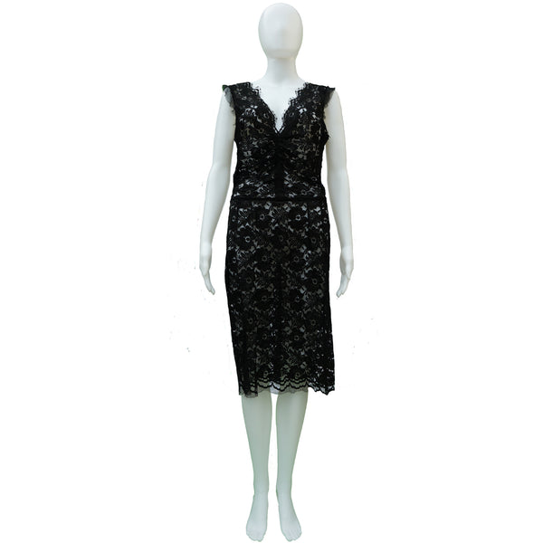 DOLCE & GABBANA BLACK LACE SLEEVELESS DRESS
