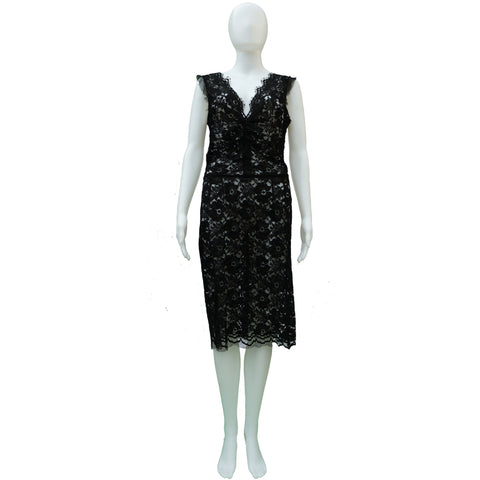 DOLCE & GABBANA BLACK LACE SLEEVELESS DRESS - leefluxury.com