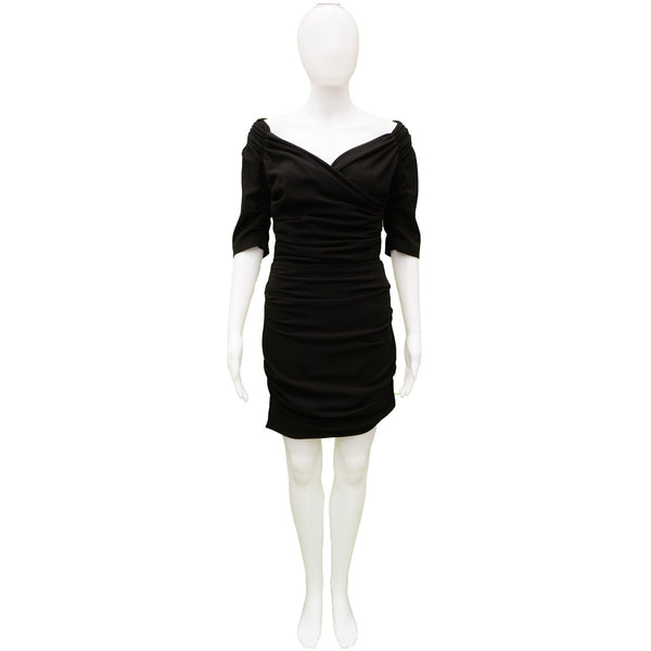 DOLCE & GABBANA BLACK RUCHED MINI COCKTAIL NIGHT OUT DRESS
