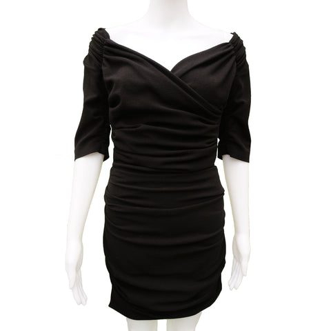 DOLCE & GABBANA BLACK RUCHED MINI COCKTAIL NIGHT OUT DRESS - leefluxury.com