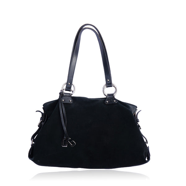 DOLCE & GABBANA BLACK SUEDE SHOULDER HOBO BAG