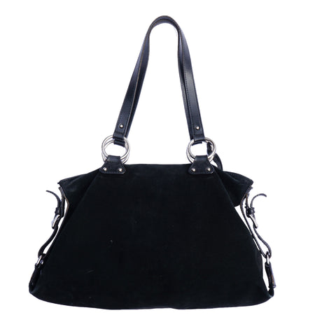 DOLCE & GABBANA BLACK SUEDE SHOULDER HOBO BAG - leefluxury.com