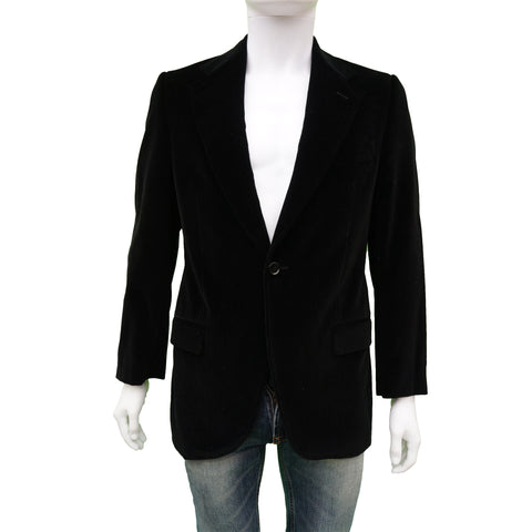 DOLCE & GABBANA BLACK VELVET ONE BUTTON BLAZER - leefluxury.com