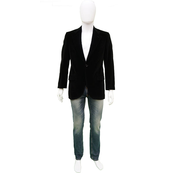 DOLCE & GABBANA BLACK VELVET ONE BUTTON BLAZER