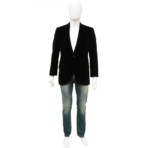DOLCE & GABBANA BLACK VELVET ONE BUTTON BLAZER Shop online the best value on authentic designer used preowned consignment on Leef Luxury.