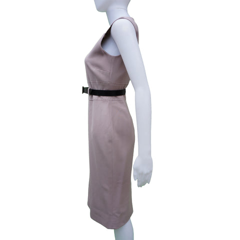 DOLCE & GABBANA BLUSH STRETCH WOOL SLEEVELESS DRESS Shop online the best value on authentic designer used preowned consignment on Leef Luxury.