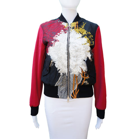 DRIES VAN NOTEN EMBROIDERED REVERSIBLE BOMBER JACKET - leefluxury.com