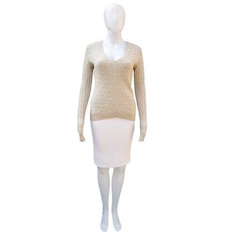 RALPH LAUREN BLACK LABEL ECRU CABLE KNIT CASHMERE TOP - leefluxury.com