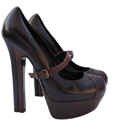 FENDI BLACK LEATHER MARY JANE PLATFORM - leefluxury.com