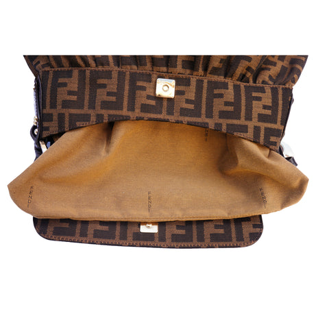 FENDI ZUCCA CHEF SHOULDER BAG Shop online the best value on authentic designer used preowned consignment on Leef Luxury.