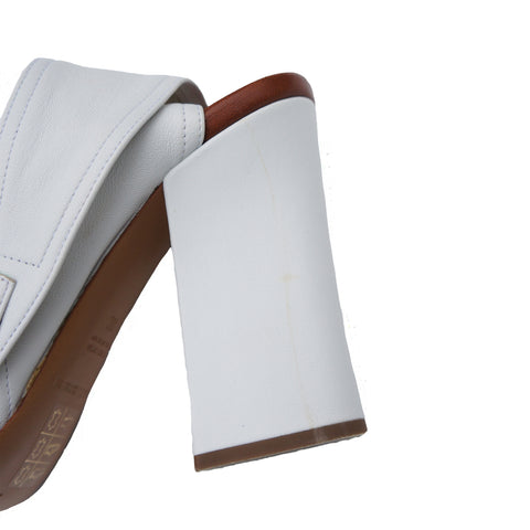 EMPORIO ARMANI WHITE LEATHER SANDALS - leefluxury.com