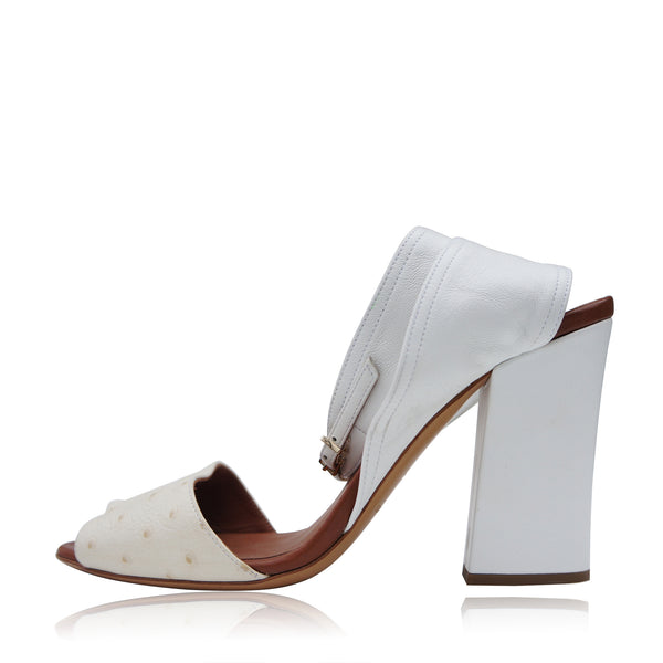 EMPORIO ARMANI WHITE LEATHER SANDALS