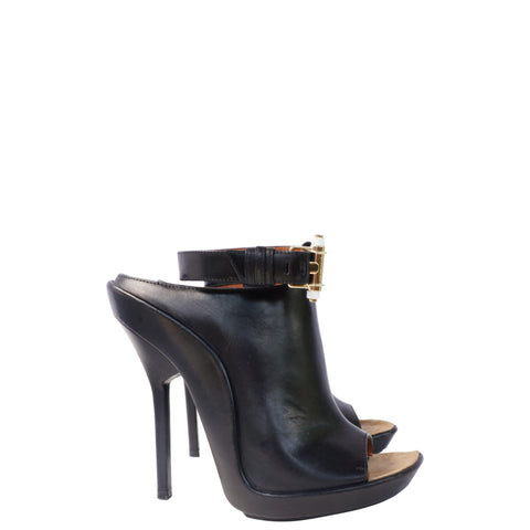 GIVENCHY BLACK LEATHER MULE SHOE - leefluxury.com
