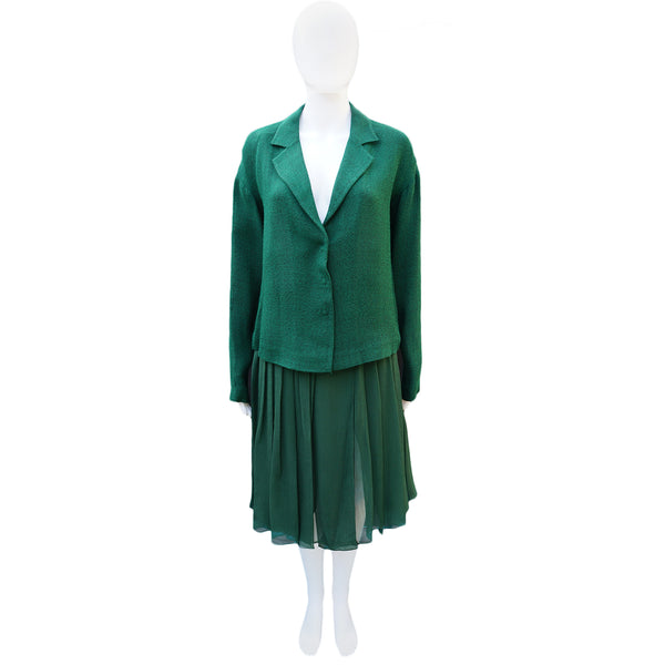 PRADA GREEN BOXY JACKET AND SILK SKIRT SUIT