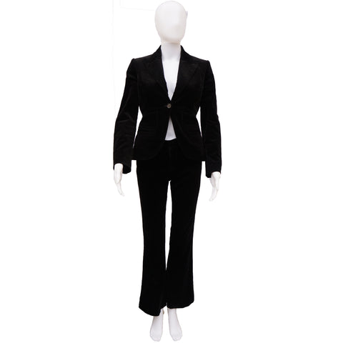 GUCCI BLACK VELVET 3 PIECE SUIT - leefluxury.com